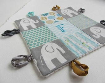 Personalized Baby Boy Lovey with Name or Initial Hand Embroidered ~Choice of Backing Fabric ~Elephants Dots Tree ~Grey Aqua Teal White Gold