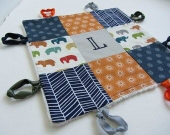 Baby Lovey Boy Name or Initial Personalized with Hand Embroidery ~Choice of Backing Fabric ~ Navy Orange Gray ~ Elephants Dots Herringbone