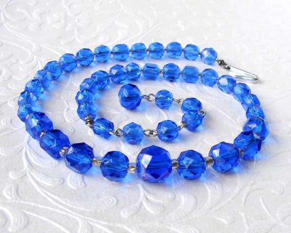 Blue Crystal Rhinestone Necklace Faceted Glass Beaded Choker 1950s Vintage Costume Jewelry Royal Cobalt Wedding Prom Formal Pageant Ballroom