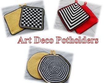 Crochet Pattern-Art Deco Potholders