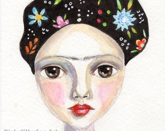 Frida painting, Whimsical Girl,  Original Watercolor painting, Flowers, Home decor, original art, small painting