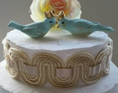 Wedding Cake Topper Blue Birds With Crown Vintage Ceramic Home Decor
