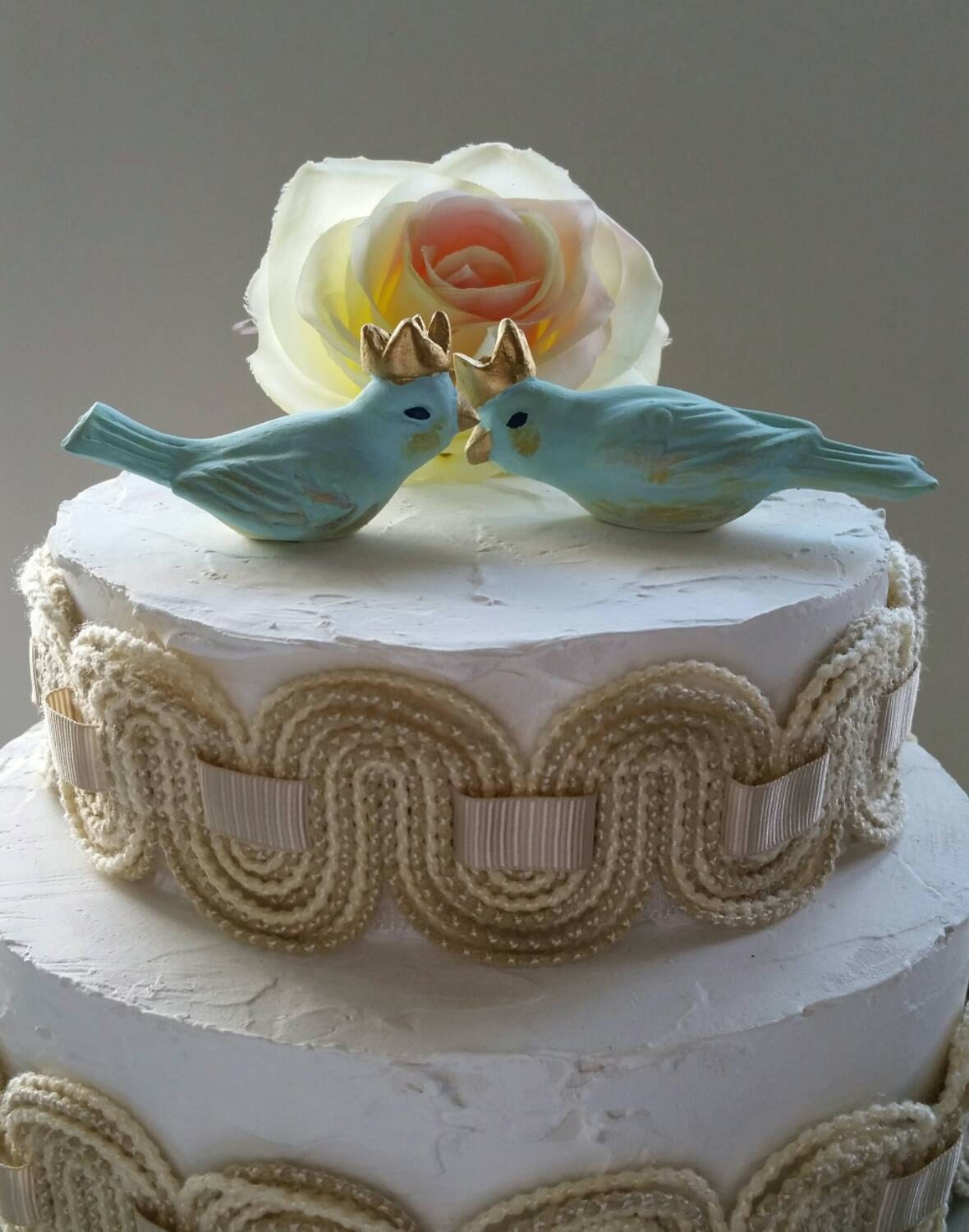 Wedding Cake Topper Birds With Crowns in Pale Light Blue
