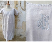Vintage French Edwardian 1900/1910 linen dress underdress with ton on ton Floral embroiderys  size  M