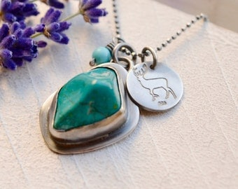 Chrysocolla Necklace, 925 Silver Necklace, Charm Pendant, Gift for Her, Gift for Women, Turquoise Necklace, Wire Wrapped Silver