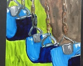 Swings original oil painting blue child
