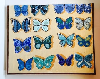 Blue Butterfly Specimen Case Original Collage Painting