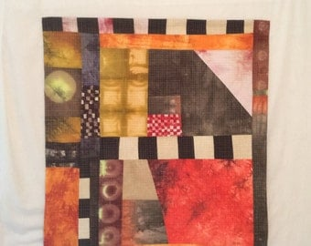 Western Moon Quilt - original Art Wall Hanging quilted Mid century Modern