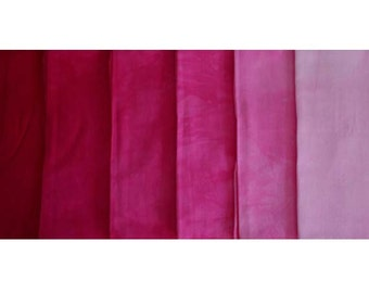 Clear RED Shades - hand dyed Fabric - 6 pc Fat Quarter Gradation Bundle - Tuscan Rose CR501
