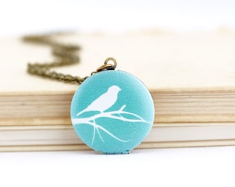 Bird Necklace - Bird Locket - Turquoise Jewelry - Bird Lover Gift - Woodland Locket - Turquoise Locket - Brass Locket - Nature Locket