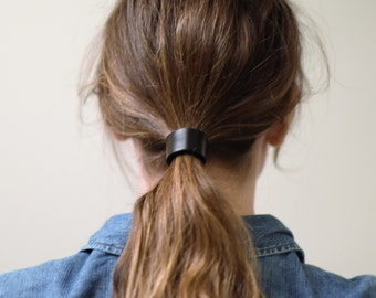 Leather Hair Cuff Ponytail Holder in Matte Black size 4inches