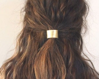 Leather Hair Cuff Ponytail Holder in Gold size 3inches