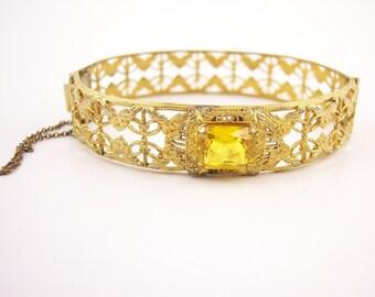 Vintage 1930's Filigree Topaz Bracelet