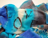 Dyed to Order- Single Knit Sock Blank- Blue Love -Turquoise, cobalt, silver and white Turquoise snowflakes and LOVE in Black letters