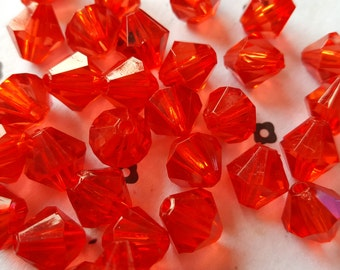 10mm Acrylic Red Bicone Beads (40)