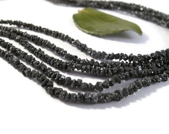 BIRTHDAY SALE - Rough Black Diamond Nuggets, 15 Inches of Raw Diamond Beads, 1.5mm-4mm, Drilled Bead, Jewelry Supplies (S-Di4)