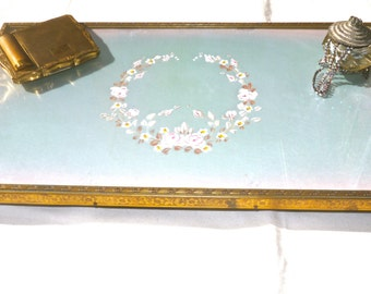 Vintage Vanity Tray - Beauty glass tray - please george set my Martini on the tray
