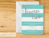 Blue and Silver - Classic Birthday Party Invitation - Digital File or Printed