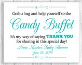 PERSONALIZED Custom Printable 8x10 Baby Shower/Baby Sprinkle White Candy Buffet Sign - Any Accent Color - Featuring Guest, Party Hosts Names