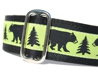 "1.5"" Dog Collar Black Bear - Choose Your Collar Style!"