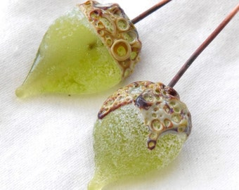 1 Pair *Crusty Lime Green Raku Teardrop Headpins * Rustic Handmade lampwork glass headpins by Beadfairy Lampwork