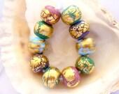 RESERVED - 10 Golden Handmade Lampwork Beads