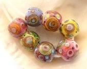 7 Enameled Handmade Lampwork Beads