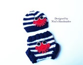 Knit  Nautical Baby Hat   and Diaper Cover with CRAB, baby outfit, baby hospital outfit,  Crab, baby set, childrens clothing,