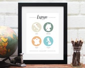 European Vacation Gift for Her Personalized Europe Travel History Map Long Distance Honeymoon Best Friends Military Travels - 8x10 Art Print