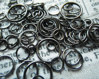 Black Gunmetal Jump Ring Mix 6-12mm 1 ounce at least 200 Pieces