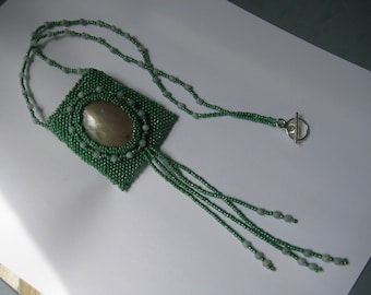Necklace, Hand beaded Amulet Green in Olive