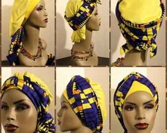 Wrap n Go bonnet in African print fabric