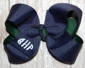 Monogram Bow - Navy & Forest Green Uniform Bow - School Bow - Custom Embroidered Bow - Headband Bow - Baby Bow