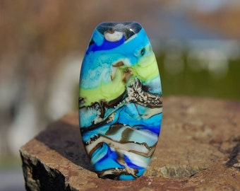 Tropical Winds - 1 Squeezed Focal Bead - K O Lampwork