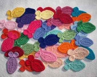 42 cotton thread crochet applique fish   --  2375