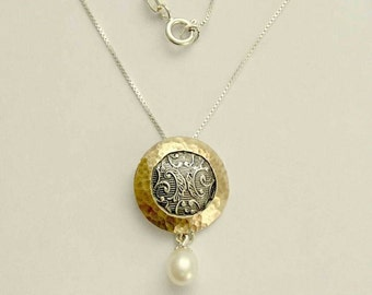 Two tones pendant, Sterling silver necklace, silver gold necklace, pearl necklace, botanical jewelry, round - Never say never N4546