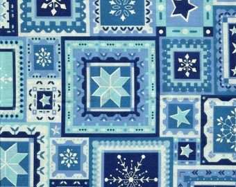 Blue Christmas Snowflake All Over 19X44 Inch Piece (Last Chance)