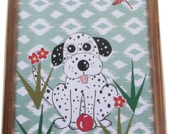 Dog Leash Holder, Hanger, Hook, Key Holder, Hanger, Hook, Wall Hanging Plaque, Nursery Baby's Room, Dalmatian, Puppy, 5x7, READY TO SHIP