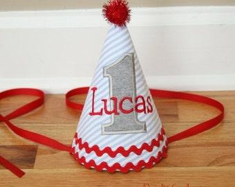 SPRING SALE First Birthday Boy Hat - Blue stripes, red, and grey  - Free personalization