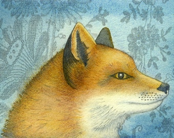 Single Greetings Card of an original painting: 'Portrait of a Fox'.