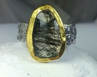 Tourmilated Quartz Ring, Solitaire ring, Statement Ring, silver, 22 kt yellow gold  and quartz ring, OOAK