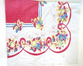 Vintage fruit tablecloth 1940 60 X 71 cotton red blue yellow cottage chic country harvest kitchen linen dining textile