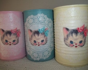 Painted Tin Cans Upcycled Tin Can Pencil Holder Little Kittens