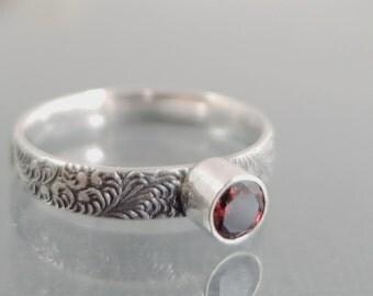 Garnet ring, Sterling Silver, red gemstone, stack ring, Birthstone jewelry