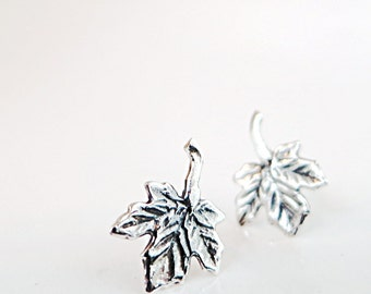 Maple leaf earrings, Sterling Silver, studs, Nature inspired jewelry