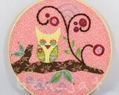 Pink Owl Hoop Art - Boho Girl Art - Unique Baby Gift - Embroidery Hoop Art - Whimsical Art - Rose Quarts Baby Shower Gift - Owl Lover Gift