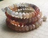 Moonstone Ombre  Wrap Bracelet