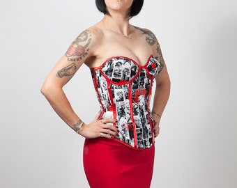 The Walking Dead Comic Print Cupped Corset, custom size. Introductory Price!