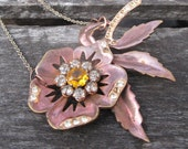 Bellissima Necklace - vintage repurposed floral pendant on copper necklace - Free Shipping to USA