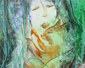 Reserved For Jill, Payment II, Original Painting, Sleeping with My Cat, Sweet Dreams, Mixed Media on Canvas